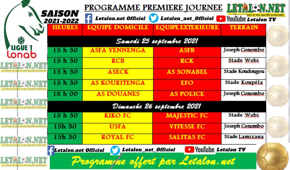 Ligue 1 LONAB: le programme complet de la 1re journée